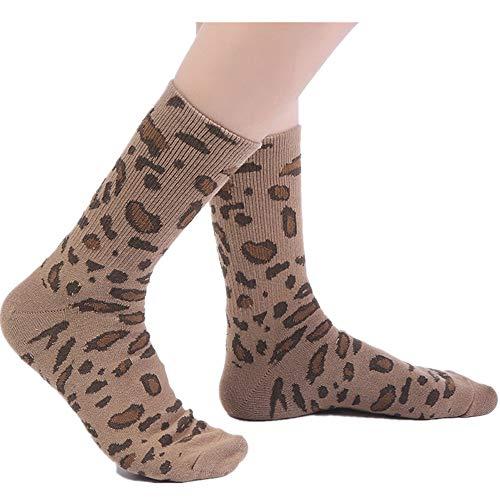 ZZBO Erwachsene Damen und Herren Mode Baumwolle Frotteesocken Einfarbig Mittlere Schlauch Socken,Winter Warme Einfarbig Atmungsaktiver Komfortabel Leopard Drucken Beiläufige Socks