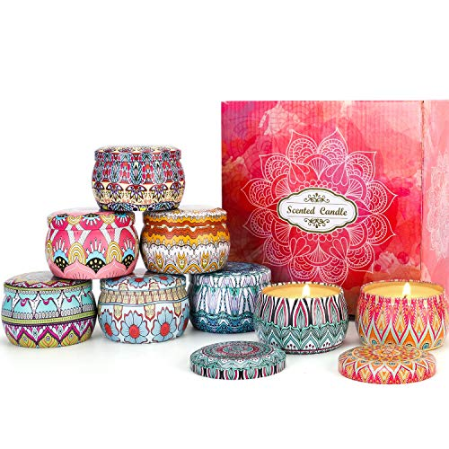 Large Size Scented Candles, Natural Soy Wax Aromatherapy Candle Gift Set, Gardenia, Lavender, Jasmine, Vanilla, Rosemary, Strawberry, Peppermint, Freesia, 8-Pack (8x4.4 Oz)