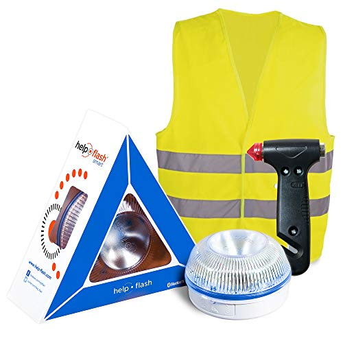 HELP FLASH SMART PK2772 luz AUTÓNOMA señalización Peligro/Linterna, DGT, V16 AUTOMÁTICA + Martillo Emergencia: rompeventanas+Cortador cinturón, y Chaleco Reflectante HOMOLOGADO, Amarillo auto