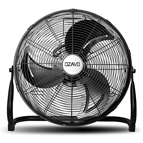 OZAVO Ventilador de Suelo Industrial con Circulador de Aire, Diámetro de Hoja de 45cm (18'), Patas Antideslizantes, 3 Aspas, 3 Velocidades, Motor de Cobre, Inclinación Regulable, 100W, Negro