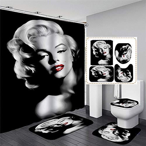 xingy&eshoop Sexy Rote Lippen Marilyn Monroe Duschvorhang Wasserdicht Waschbare Bad Polyester Stoff Badmatte-Vierteiler Anzug 180 (B) X180 (H) cm