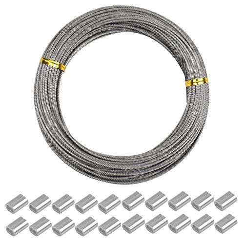 YMWALK Fil de suspension pour photo Fil de jardin Fil d'acier inoxydable robuste Câble de clôture Câble de fil artisanal fort pour ligne de lavage d'artisanat de jardin 1,5mm (7 * 7) × 30m
