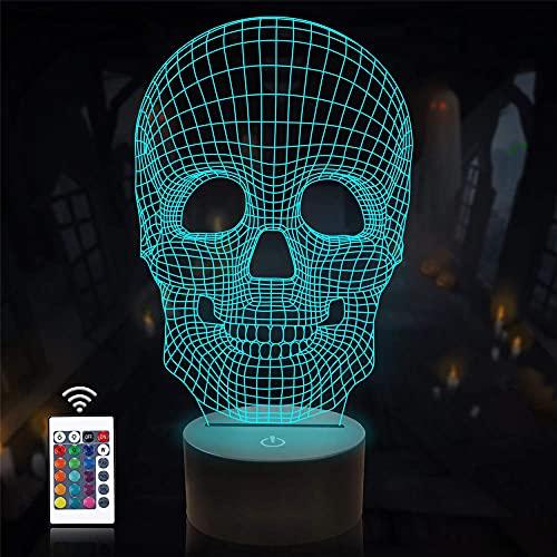 Calavera 3D luz nocturna, ilusión óptica, alimentada por USB, 16 colores, interruptor táctil intermitente, decoración del dormitorio, iluminación para niños regalo de Navidad
