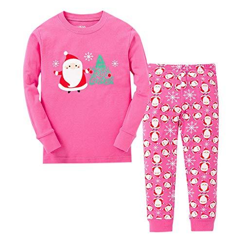 Kids Baby Boys Girls Christmas Pajama Set Santa Claus Long Sleeve T Shirt Tops + Pants Clothing Set Outfits (12-18 Months, Pink)