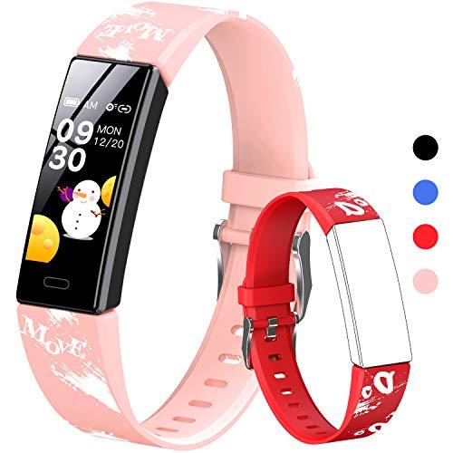 HOFIT Pulsera Actividad para Niños, Reloj Inteligente con Podómetros, Monitor de Frecuencia Cardíaca y Sueño, Cronómetro, Ip68 Resistente Pulsera Deportiva, Smartwatch con 2 Pulseras (Rosado-B)