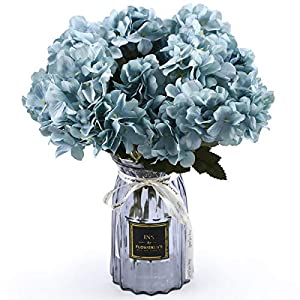 UltraOutlet 4 Packs White Silk Hydrangea Flowers with Vase DIY Artificial Hydrangea Flowers Bouquets Arrangement Centerpiece for Weddings, Baby Showers, Birthday Parties, Home Office Decor (Blue, 4)