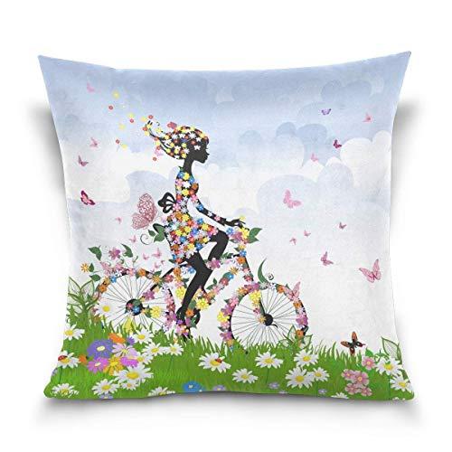 45x45cm Funda Throw Pillow Case Almohada Cojín Verano Chica Bicicleta Mariposa Flor Paisaje Naturaleza Fundas colchón Cojines Decorativa Cuadrado sofá