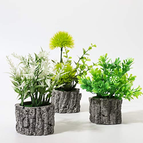 EPLST Set of 3 Mini Potted Artificial Plants, Small Fake Plants in Cement Pots for Room Decor Office, Garden Decoration