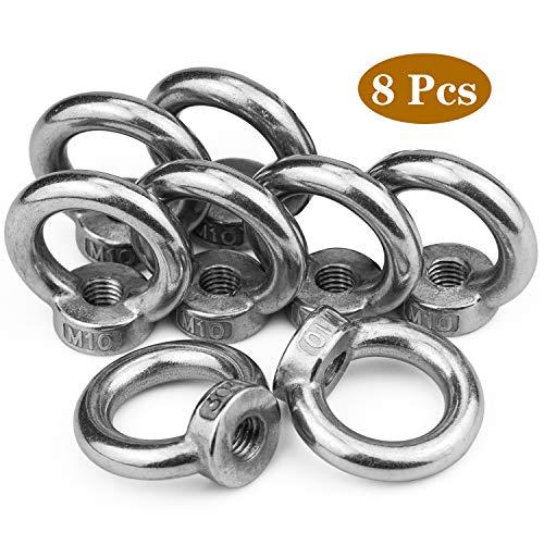 8 Stück Ringmutter M10 Augenmutter Traglast 260kg 304 Edelstahl Gegossen Poliert Ösenmutter