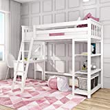 Max & Lily Solid Wood Twin-Size High Loft Bed with Bookcase + Desk, White