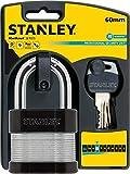 Stanley S742-007 Candado de seguridad 24/7 laminado con arco estándar, Negro, Metálico, 60 mm