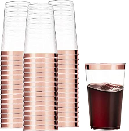 rose gold rimmed cups