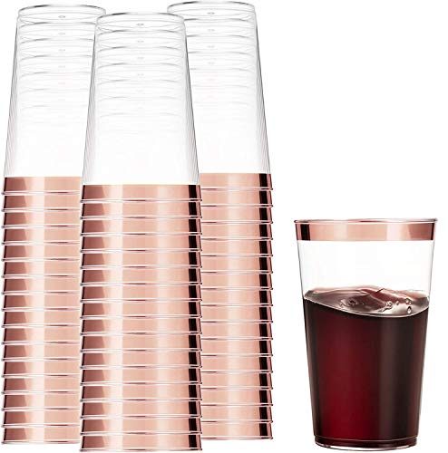 100 Rose Gold Plastic Cups 14 Oz Clear Plastic Cups Tumblers Rose Gold Rimmed Cups Fancy Disposable Wedding Cups Elegant Party Cups with Rose Gold Rim