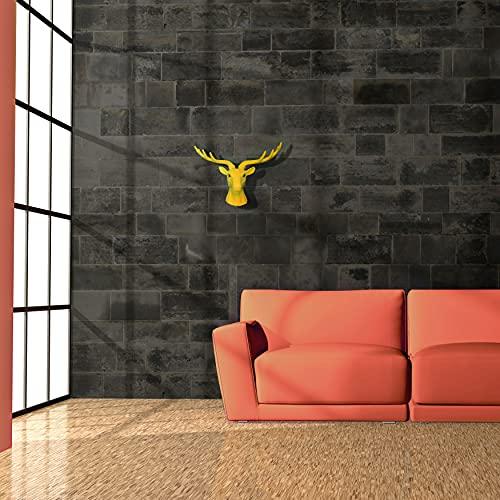 Walplus 43 X 26.5 11.8 cm Tête Cerf Animal Manteau Support Mural Autocollants Art Maison Décoration Salon Chambre Bureau Décor DIY, Jaune