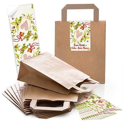 Logbuch-Verlag 10 kleine Geschenktüten Papiertragetaschen Weihnachtsverpackung mit Aufkleber BUON NATALE e FELICE ANNO NUOVO 18 x 8 x 21 cm ITALIENISCH zum Befüllen
