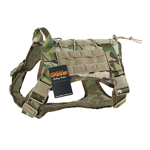 EXCELLENT ELITE SPANKER Tactical Dog Harness Military Dog Harness Working Dog Vest Molle Adjustable Training Vest Patrol K9 Harness Large with Handle(MCP-M)