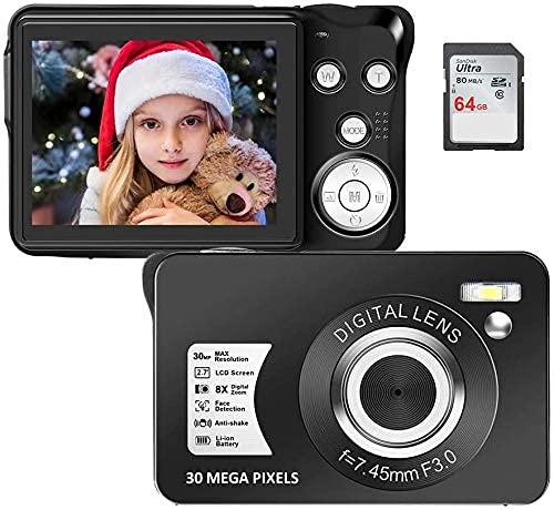 Iriisy Camara Digital Compacta, Camara de Foto Full HD de 1080P 30MP 8X Zoom Pantalla de 2.7 Pulgada con 64GB SD para Grabación de Vídeo, Videocámara fotográfica