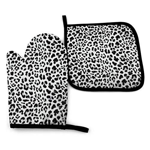 wusond Leopard Seamless Pattern Design Ofenhandschuh- und Topflappenmatten-Set, fortschrittlicher hitzebeständiger Ofenhandschuh, rutschfeste strukturierte Griff-Topflappen OMP-038