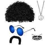 MMTX Peluca Afro Bigote Gafas de Sol Redondas Collar y Pulsera para Adultos - Accesorio de Fiesta de los 70 60 50
