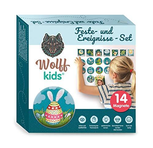 Wolff kids Wochenplaner Kinder Feste-Set, Tagesplan Kinder, Kinder Kalender, mein erster Kalender für Kreidetafel, erstes lernen,adhs,Kindererziehung