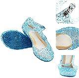 XXXZZL Sandalias para niñas Zapatos de Cristal de Cenicienta Niña Bailarina Zapatos de Tacón Disfraz de Princesa Zapatilla de Ballet para,Azul,35EU