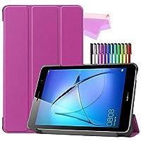 Billionn Huawei MatePad T8(kobe2-L03 / KOB2-L09)タブレット用フォリオ3つ折りスタンドスマートケース[超薄型] [超軽量]、紫の