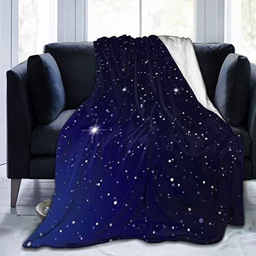 YOUMEISU Franela Manta para Cama Sofá Silla,Starlit Dark Nights Clouds Cielo Stella Science Galaxy Twinkle Nature Moon Design Montañas Estrellas,Cálida,Cómoda Y Duradera 100x127cm