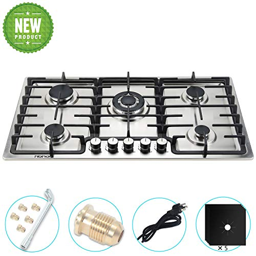35 inches Gas Cooktop 5 Burners Gas Stove gas hob stovetop Stainless Steel Cooktop 5 Sealed Burners Cast Iron Grates Built-in Gas Stove Top LPG/NG Gas Cooktop Thermocouple Protection and Easy to Clean
