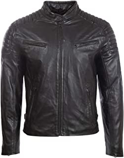 Aviatrix Men's Real Leather Fashion Biker Jacket with Padded Shoulder Detailing (T86N)