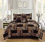 GrandLinen 5 Piece Twin Size Dark Brown Black Animal Print Safari Comforter Set. Leopard, Zebra, Cheetah Velvet Bedding with Accent Pillows and Bed Skirt