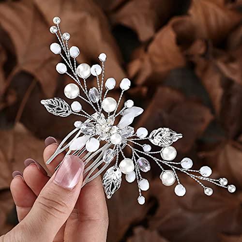 Zoestar flor peinetas para el cabello de boda perla plateada tocado de novia con cuentas accesorios para el cabello para mujeres y niñas