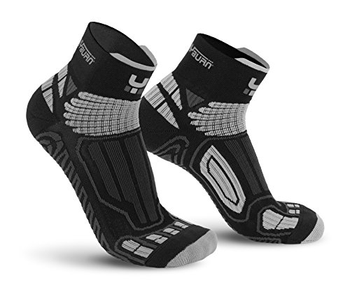 Oxyburn Running Half-Cut Dry-Tech Carbon L Chaussettes Homme, Black/Silver, Size 42/44