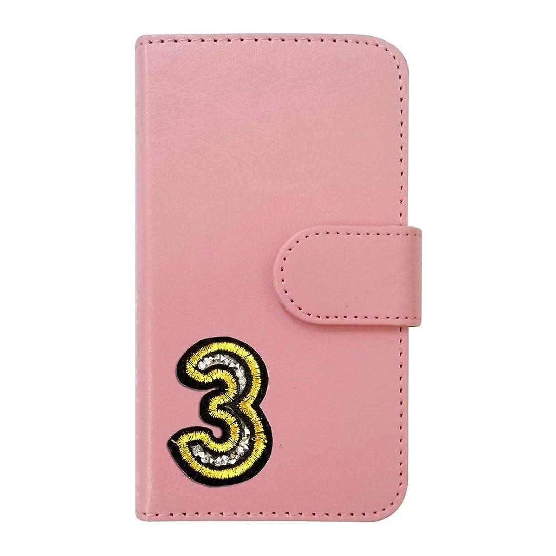 動く誘惑する勇者sslink iPodTouch5 アイポッドタッチ5 ケース 手帳型 ナンバー 3 ワッペン 背番号 数字 デコ キラキラ (ピンク) ダイアリータイプ 横開き カード収納 フリップ カバー スマートフォン