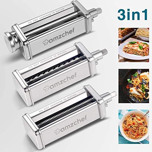 Accessori per rulli e taglierine Set 3 in 1 per mixer KitchenAid, accessori per creatore di pasta in acciaio inossidabile AMZCHEF, rullo per fogli di pasta incluso, tagliapasta, tagliapasta