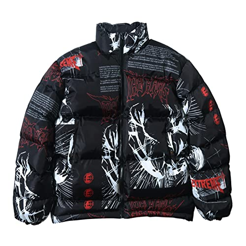 joyvio Chaqueta acolchada con cremallera de manga larga de invierno para mujer Abrigos cortos holgados de plumón (Color : Black, Size : XXL)