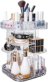 Makeup Organizer With Diamond Pattern 360 Degree Rotating Cosmetic Organizer, DIY Adjustable Height Large Capacity Cosmetics Display Case