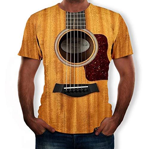 waotier Camiseta Moda para Hombre Guitarra Divertida Camiseta Impresa en 3D Cool Summer Loose O-Neck Short Sleeves Tees Tops