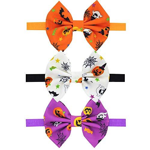 DUO ER 3pcs Accesorios for el Cabello Halloween Headbands Set for Tejido de bebé Arcos de Pelo Bandas Elásticas Pelotes Halloween Party Headwear (Color : One of Each)