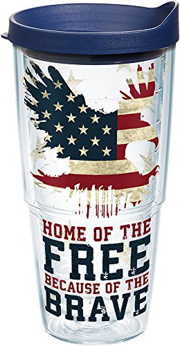 Tervis Home of the Free Because of the Brave Tumbler with Wrap and Navy Lid 24oz, Clear