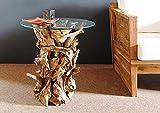 Designer Wurzelholz Tisch mit Glasplatte 60cm