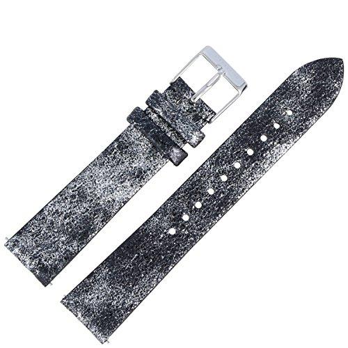 Liebeskind Berlin Uhrenarmband 18mm Leder Schwarz Silber - 0100
