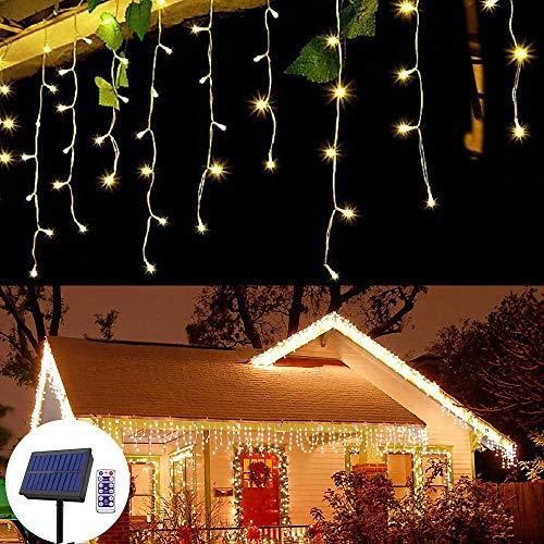 Eiszapfen Lichterkette Außen Solar Eisregen-lichterkette mit 264 LEDs 22,9 ft in der Länge Vorhang Lichterketten Outdoor-Dekor für Weihnachtsgartenparty