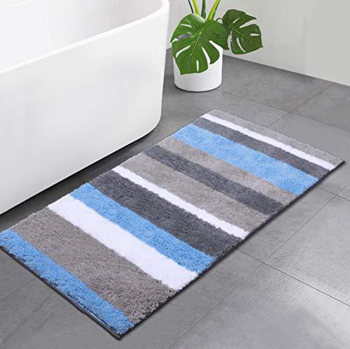 Homaxy rutschfest Badezimmer Badeteppiche Weich Hochflor Saugfähig Badvorleger Waschbar Flauschige Mikrofaser Badematte – 60 x 120 cm, Blau/ Grau