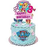 Paw Dog Patrol 3rd Birthday Decorations Girl, Paw Dog Patrol Cake Topper Girl 3, Paw Dog Patrol Sky Cake Topper for Girl 3rd Birthday