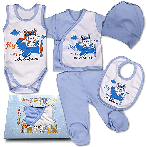 QAR7.3 Conjunto de Ropa Bebe Recien Nacido - 100% Algodón - Set Regalo 5 Piezas: Body, Pijama, Pantalon, Babero, Gorro (Azul, 0-3 meses)