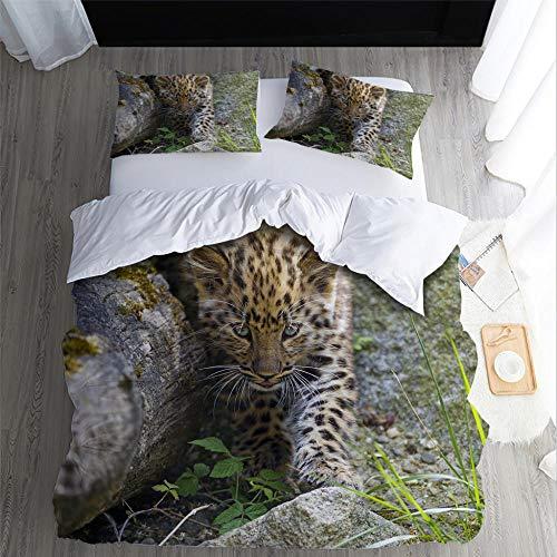 DJDSBJ 3D Leopard/Cheetah print duvet cover (single) bedding set with 2 pillowcases,3piece soft polyester-cotton duvet cover with zipper closure,135x200cm