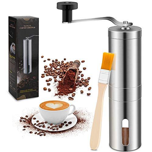 CHUER Kaffeemühle Manuell mit Bürste, Keramikmahlwerk Kaffeemühle Hand - Handkaffeemühle aus Edelstahl | Espressomühle | Präzise Mahlgradeinstellung stufenlos | Manuelle Kaffeemühle