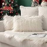 MIULEE Navidad Juego de 2 Funda de Almohada Cojines de Piel Decorativos Cuadrados y Suaves Cojines PeloPara la Decoración del Hogar Sofá Cama del12x20 Inch 30 x 50 cm Blanco