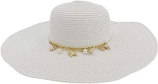 Lady's Sun hat Women's Chaff Hat Seaside Holiday Sun Hat Big Sunscreen Sunshade Beach Hat Fashion Graceful Sun hat (Color : White, Size : 56-58CM)