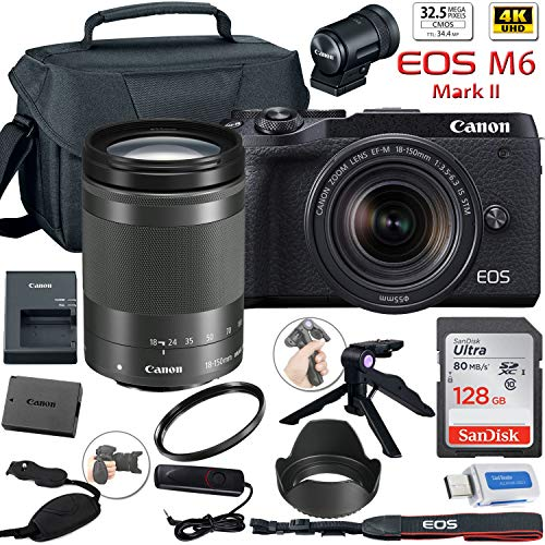 Canon EOS M6 Mark II Mirrorless Digital Camera (Black) with 18-150mm Lens and EVF-DC2 Viewfinder + Canon Shoulder Bag + 128GB Sandisk Memory Card + Grip Steady Tripod + Lens Tulip Hood & More.